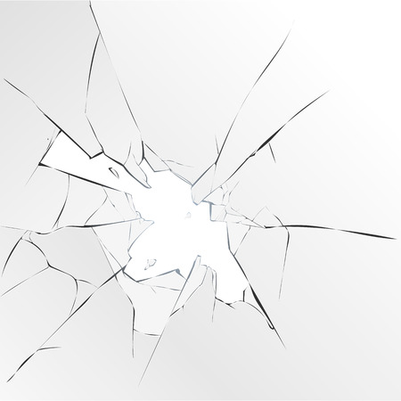 Broken glass hole on white background. Vector illustration