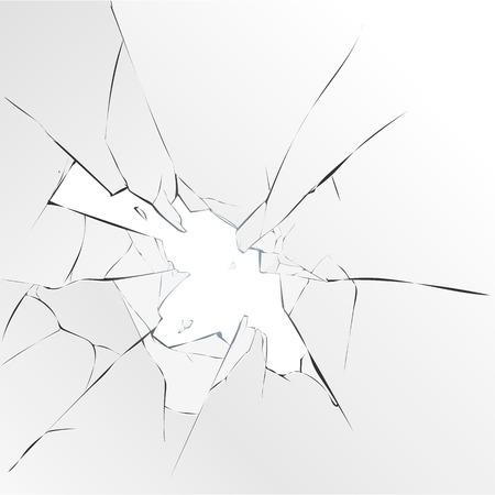 Gebroken glas gat op een witte achtergrond. vector illustratie Stock Illustratie