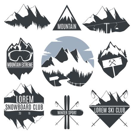 Conjunto de icono de las montañas de la vendimia y el esquí con el snowboard.