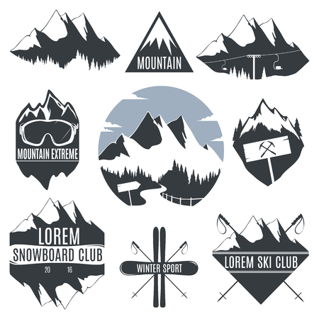 Set of vintage icon mountains and skiing with snowboard.