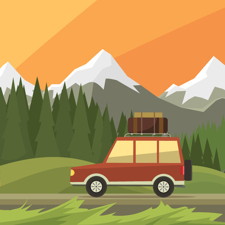 car rides on off-road trail, background of high mountains and forests. Active outdoor recreation with family. art. Vehicle SUV. Wild Reserve. sunset landscape. car. flat design illustration