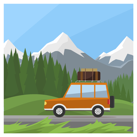 car rides on off-road trail, background of high mountains and forests. Active outdoor recreation with family. art. Vehicle SUV. Wild Reserve. day landscape. car. flat design illustration