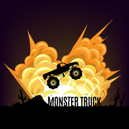 cool off: Big cartoon explosion background - Monster truck.