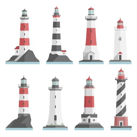 big and small: Big set flat lighthouses isolated. Red, black, white lighthouse on water. minimalism. flat buildings icon. architecture objects. old and modern. low, high, small, big lighthouse.