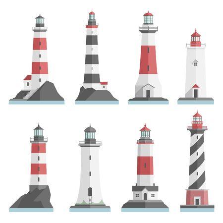 Große Reihe flach Leuchttürme isoliert. Rot, schwarz, weiße Leuchtturm auf dem Wasser. Minimalismus. Flachbauten Symbol. Architektur-Objekte. alt und modern. niedrig, hoch, klein, groß Leuchtturm. Vektorgrafik