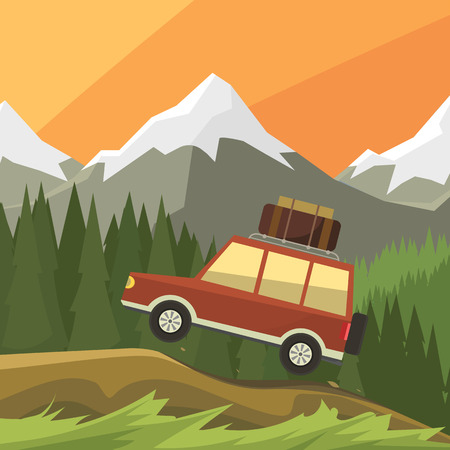 reserve: car rides on off-road trail, background of high mountains and forests. Active outdoor recreation with family. art. Vehicle SUV. Wild Reserve. sunset landscape. car. flat design illustration
