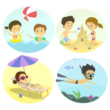 inflatable ball: Summer fun at the beach with the kids. Family holidays by the sea. children build a castle on the sand, sunbathing under a parasol, underwater diving child inflatable ball game. childrens illustration