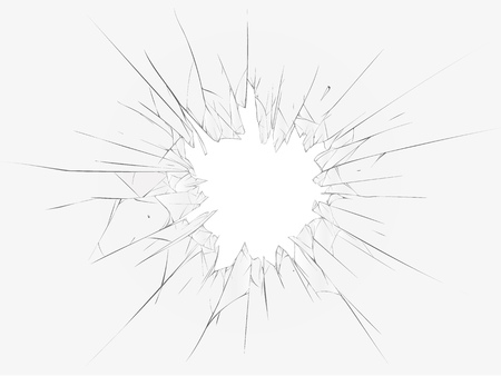 Broken glass, dark background. illustration