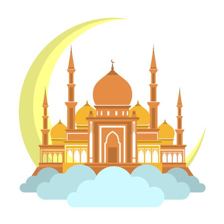 Muslim mosque on clouds with month icon. arabic mosque masjit. islam minarets flat . flat cartoon design. islamic mosque icon illustration.
