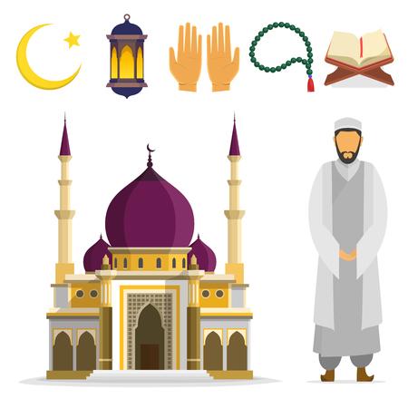 Set of Islamic religious symbols and ritual objects. Ramadan symbol. Muslim Mosque mullah, an Islamic star and crescent, lantern, palms, Koran, beads. flat cartoon design. islam culture icons. 向量圖像