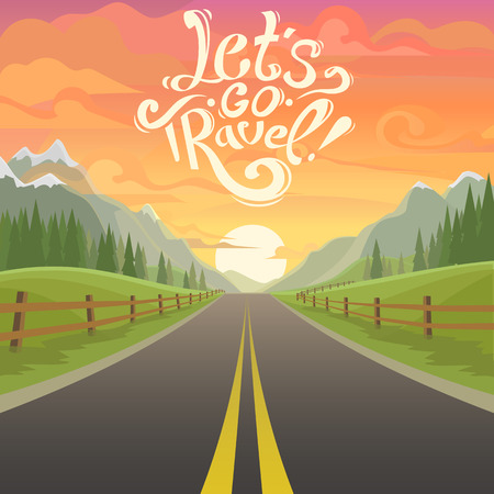 highway drive with beautiful sunrise landscape. Lettering Lets go travel, drive. highway drive adventure travel Summer driving Travel road car view. mountains horizon. holiday drive. mountains Ilustração