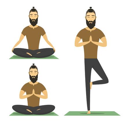 Yoga man isolated on white background. catoon yoga character, flat design illustration. hipster male meditation. 向量圖像