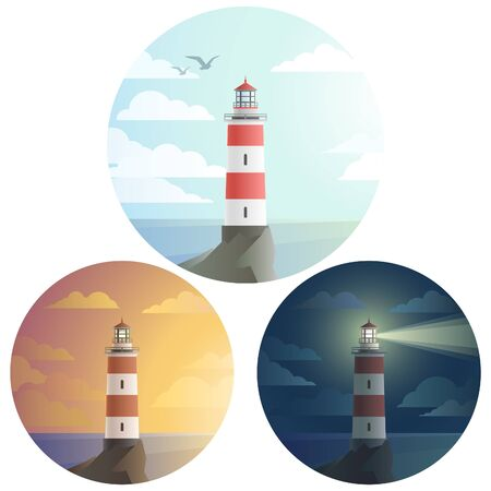 Set of tall lighthouse  on a cliff icon, with  landscape with sea and clouds. Day, sunset, dark night.  flat modern design.