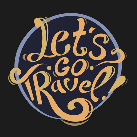 lettering vintage illustration. Let's go travel. Orange text on black background. motivation lettering . 向量圖像