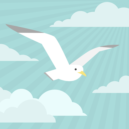 Isolated flat gull with clouds on blue ski background. modern design