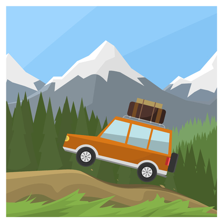 reserve: car rides on off-road trail, background of high mountains and forests. Active outdoor recreation with family. art. Vehicle SUV. Wild Reserve. day landscape. car. flat design illustration