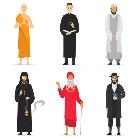 Isolated religion ministers. Monks and priest. greeting. Buddhist, Catholic, Muslim, Orthodox Priest, Sadhu, Orthodox Jew. World religions monk people. isolated cartoon greeting characters