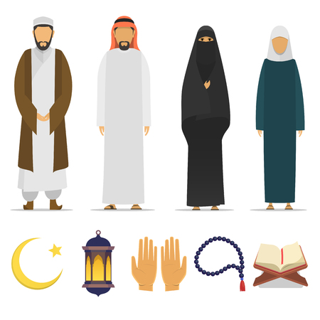 Set of Islamic religious people and ritual objects flat icon. Ramadan Kareem symbol. Muslim mullah, male and female. Islamic star and crescent, lantern, palms, Koran, beads. flat islam. cartoon design. islam icons. Ilustração
