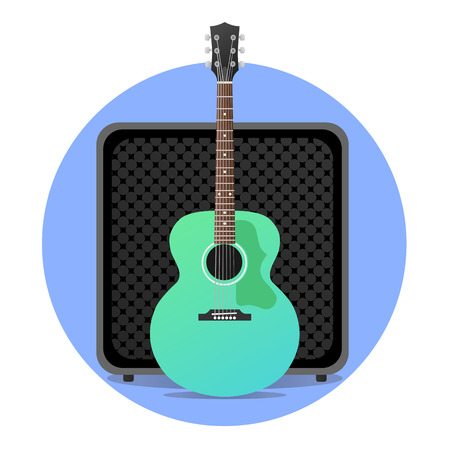 Blue electro acoustic guitar with amp illustration. round icon. modern flat design. rock musical instruments.
