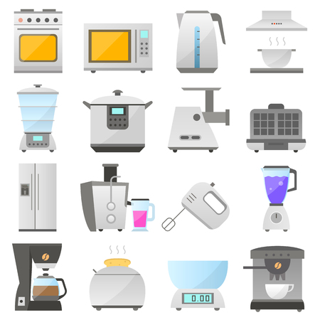 extractor hood: big set of modern icon of electrical kitchen appliances isolated on white background, flat design appliances group. electric kitchen iron objects collection design. home kitchen icon. Illustration
