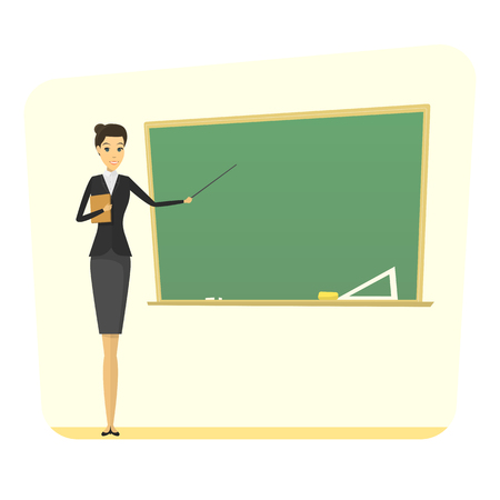 teacher classroom: cartoon female teacher with blackboard. concept. school woman teacher modern flat design. learning illustration.