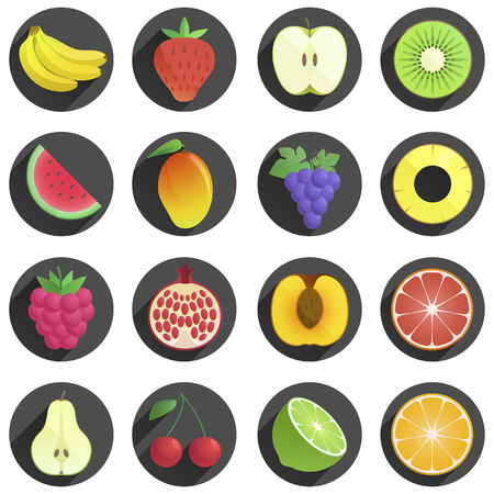 Set of fruits and berries flat with shadow icons. white background. juicy, fresh fruits. natural products. icons. modern flat design objects illustration. Ilustração