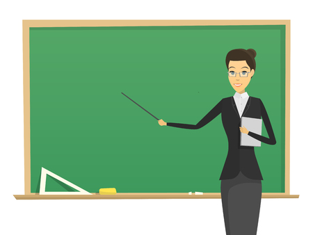cartoon male teacher with blackboard. concept. school man teacher modern flat  design. learning illustration.