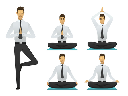 Yoga man poses illustration. set meditation logo flat design. sitting, meditator business man. resting person vector.
