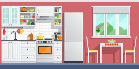 Keuken interieur met tafel, fornuis, kast, servies en koelkast. vlakke huis kunst vector illustratie. indoor, keukenapparatuur meubels, banner koken cartoon stijl. culinaire decoraties kamer.