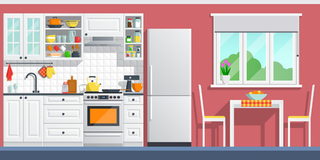Kitchen interior with table, stove, cupboard, dishes and fridge. flat home art vector illustration. indoor, kitchen appliances furniture, banner cooking cartoon style. culinary decorations room.