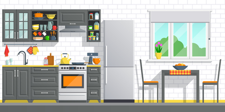 Kitchen appliances with black interior on white break wall background. flat home art vector illustration. indoor kitchen furniture, banner cooking cartoon style. culinary decorations room. Ilustração