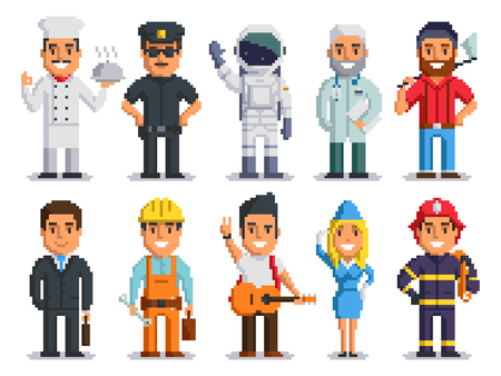 Pixel art characters set, different professions people isolated group design. Chef, Policeman, Cosmonaut, Doctor, Woodcutter, Businessman, Builder, Musician, Stewardess, Firefighter. vector 8 bit art. Stock Illustratie