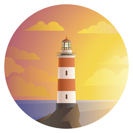 Lighthouse with beautiful landscape of ocean in round icon. Imagens - 71867402
