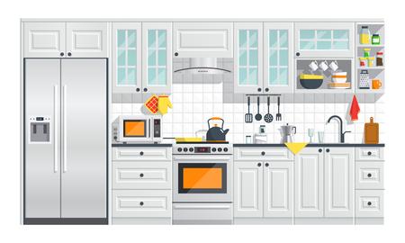 흰색 배경에 회색 인테리어와 주방 기기입니다. 플랫 홈 아트 벡터 일러스트 레이 션. 실내. 스토브, 찬장, 요리 및 냉장고와 부엌 인테리어. 일러스트