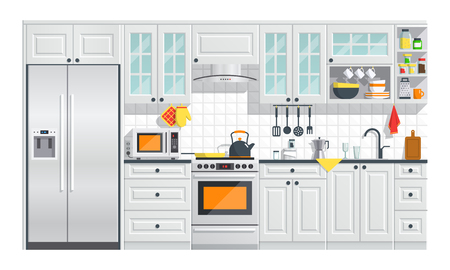 Keukentoestellen met grijs binnenland op witte achtergrond. platte huis kunst vectorillustratie. binnenshuis. keukenbinnenland met fornuis, kast, schotels en koelkast. Stock Illustratie