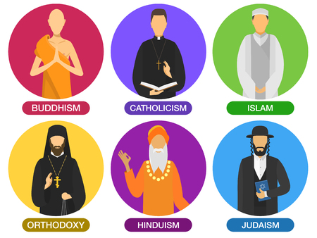 Set of religion ministers icons. culture symbol. traditional people cartoon style. buddhism, catholicism, islam, orthodoxy, hinduism, judaism religions. group of vector flat design illustration. Ilustração