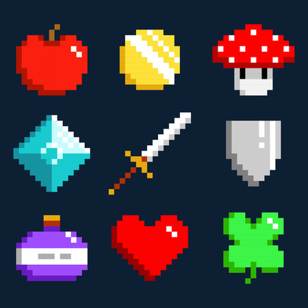 Set of minimalistic pixel art vector objects isolated. game 8 bit style. minimalistic pixel graphic symbols group collection. apple, coin, mushroom, diamond, sword, shield, potion, heart, lucky clever