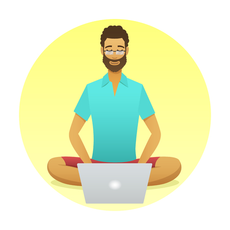 Relaxing man at work with a yoga pose style. Cartoon style freelancer with computer round icon. work at a distance flat illustration. Seated guy meditating with aura. Internet job meditation vector.