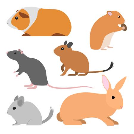 Conjunto De Animales De Dibujos Animados. Colección De Roedores ...