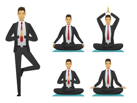 El hombre de yoga plantea ilustración. set diseño plano de la insignia de la meditación. sentado, meditador hombre de negocios. persona de descanso vector. Vectores