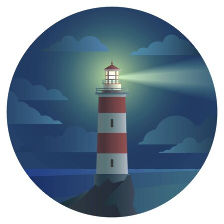 vector lighthouse with beautiful landscape of ocean round icon. flat house tower with sea and sky symbol, cartoon style illustration. seaside build sign design. Imagens - 73832722