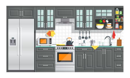 Kitchen appliances with black interior on white background. flat home art vector illustration. indoor. kitchen interior with, stove, cupboard, dishes and fridge. Imagens