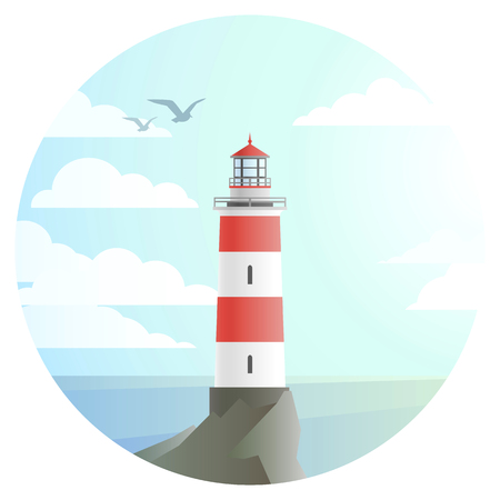 vector lighthouse with beautiful landscape of ocean round icon. flat house tower with sea and sky symbol, cartoon style illustration. seaside build sign design.