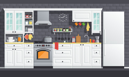 Flat kitchen room vector illustration. indoor kitchen Interior set, cooking cartoon style. culinary decorations collection. Imagens