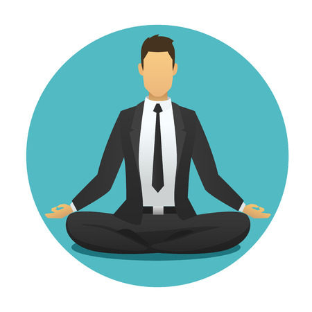 man: Yoga man icon. meditation logo flat design. sitting, meditator business man with blue  round background. vector illustration. Stock Photo