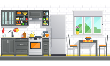 Kitchen appliances with black interior on white break wall background. flat home art vector illustration. indoor kitchen furniture, banner cooking cartoon style. culinary decorations room. Imagens - 71358203