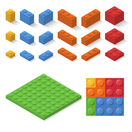 Set of isometric child constructor bricks. vector toy blocks collection. isolated colorful construct elements. build puzzle parts, flat design.