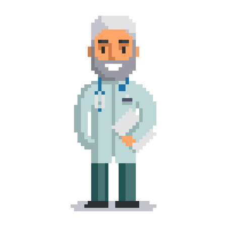 Doctor isolated on white background. physician pixel game style illustration. Medic vector pixel art design. funny 8 bit people character icon.