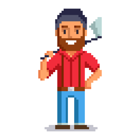 Woodcutter isolated on white background.  Lumberjack pixel game style illustration. lumberman vector pixel art design. funny 8 bit people character icon. Imagens - 72478640
