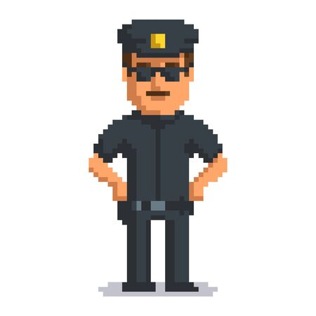 Officer isolated on white background. Sheriff pixel game style illustration. Cop vector pixel art design. funny 8 bit police guy character icon.